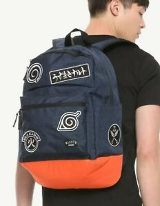 Naruto Shippuden Symbols Patches Backpack School Bag NEW
