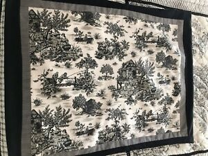 Pastoral Toile Pillow Sham French Countryside Black White Large Case 30 X 23