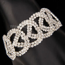 Linked Heart Diamante Rhinestone Crystals Silver Plated Bracelet Gift Boxed