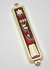 10 Commandments Shaddai Star of David Mezuzah 24k Gold Plated 7cm Made in Israel