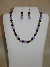 VINTAGE HANDMADE AMETHYST & CRACKED GLASS GOLD FILLED NECKLACE & EARRINGS SET