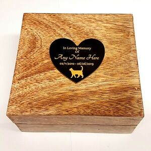 Pet Urn With Heart Shaped Plaque Ashes Pet Box Dog Or Cat Casket Mango Wood
