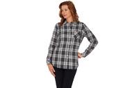 Denim & Co. Brushed Cotton Plaid Shirt Natural M A260282 QVC