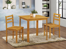 Dining Table Set Small Square Top Two Chairs - Natural Oak Finish