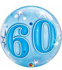"Qualatex ""Bubbles"" Blue Happy Birthday 60th Balloon 22""/56cm"