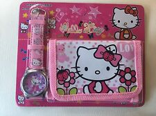 Childrens Girls Bows Flowers Hello Kitty Cat Purse Wallet Watch Toy Gift Set