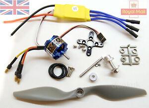 UK 1450kV Brushless Outrunner Motor + Mystery 30A ESC + Prop Kit Combo Planes