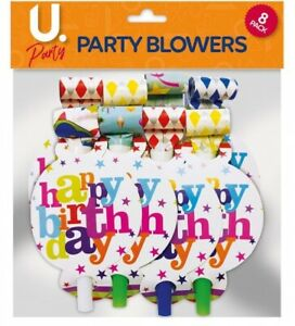 6/12pk Party Blowers   Party Loot Bag Filler Blowouts   Happy Birthday Blowers
