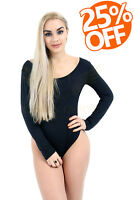 WOMENS LADIES BLACK PLAIN ROUND NECK LONG SLEEVE BODY SUIT OUTFIT SIZE 8 - 22