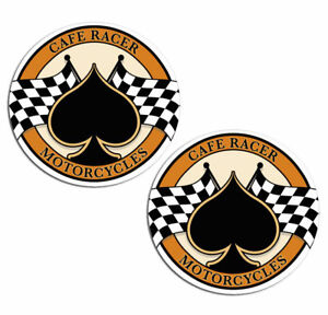 Cafe Racer Racing Vinyl Stickers Decal Auto Motorcycle Ace Chequered Flag B 59