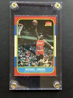 Michael Jordan 1986 Fleer Rookie Card Unmarked Reprint W/ Case 📈NBA Basketball