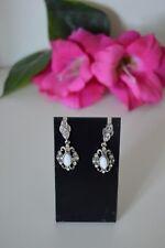 Vintage White Enamel Oxidized Drop Dangle Chandelier Pierced Statement Earrings