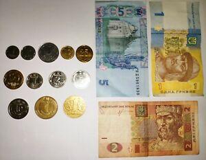Lot set 15 pcs. : 12 different Ukrainian coins + 3 banknote grivna