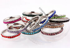 10Pcs Cubic Zirconia CZ Inlay Stainless Steel Woman Man Rings Wholesale Mixed AA