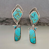 Retro 925 Silver Turquoise Earrings Ear Hook Dangle Woman Wedding Gift Jewelry