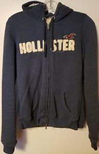 HOLLISTER SHERPA FUZZY ZIP UP HOODIE JACKET BLUE WHITE WOMENS JUNIORS SIZE LARGE