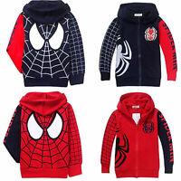 Kids Toddler Baby Boys Spider-man Winter Hooded Jackets Coat Sweatshirt Outwear