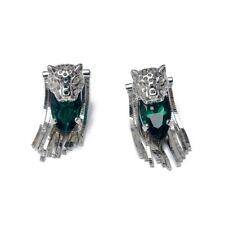 Sterling Silver Leopard Cat Head Emerald Green Crystal Earrings