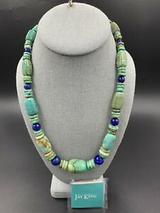 Jay King DTR Mine Finds Sterling Turquoise & Lapis Large Bead Necklace