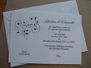 Personalised Wedding Invitations Love Flourish Day and/or Eve Can Mix
