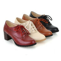Plus Size Brogue Women Lace Up Retro Mid Chunky Heels Oxford Wing Tip Shoes New