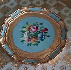 Vintage Italian Florentine Papier Mache Tray - 19cm - Pale Blue Floral