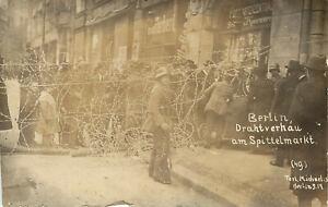 RPPC Postcard Street Drahtverhau Barricade Berlin Revolution 1919 No 49 Germany