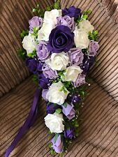 Wedding Flowers Bride Bouquet Purple & Ivory & Lilac & Pearl Sprays & Diamant'e