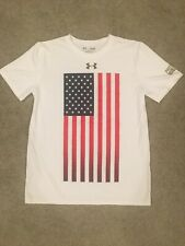 Under Armour Protect This House White Loose Athletic Shirt Youth Large USA Flag