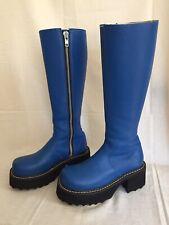 Fluevog Blue Leather Motorcycle Tall Zip Platform Boots CeCe Bond Girl US 7 Rare