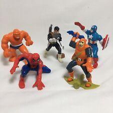 Lot of 5 Marvel Figures Spider-man Captain Marvel Punisher 1989 1990 Vtg
