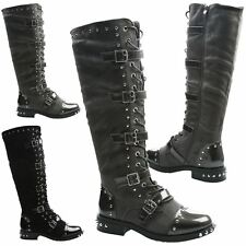 Sienna Womens Flats Low Heels Studded Under Knee High Boots Ladies Shoes Size