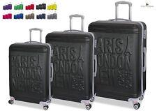 Set 3 Trolley Valigie Tris con 8 RUOTE in ABS Rigido Con Bagaglio a Mano ORMI