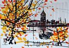 Original painting OLD TOWN marker gouache design home decor fine art Tania