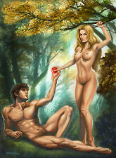Signed Sexy Adam and Eve Painting 13x17 Artwork Reproduction