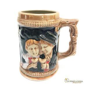 Boccale da birra in ceramica tedesco vintage con bicchiere collezione portapenne