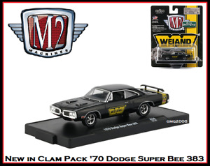 New M2 1/64 Diecast Car '70 Dodge Super Bee on a Display Stand in Clam Pack