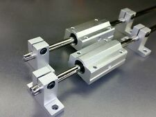 """2 x 8mm 12"""" Hardened Shafts 2 Long Pillow Blocks & Supports Scs8L Sk8 RepRap"""