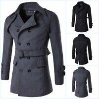 Men's Woolen Jacket Lapel Double Breasted Slim Fit Outwear Belted Trench Coat