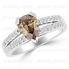 1.63ct VS1 Pear-Shaped Chocolate-Brown Diamond Engagement Ring 14k White Gold