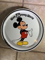 "Vintage Walt Disney World Mickey Mouse 11"" Metal Tray Plate Circle"