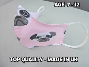 KIDS children Cotton face mask washable reusable pug quality double layer child