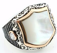 Unique 18gr Solid Sterling Silver Mother of Pearl Men's Ring All Sizes 8-12 K6V