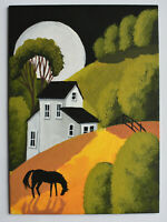 ORIGINAL landscape painting dollhouse miniature horse Fall moon aceo folk art DC