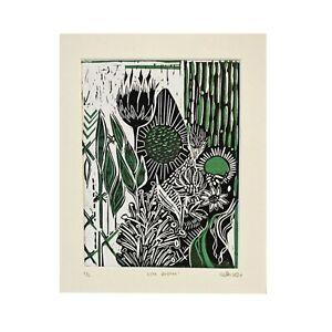 City Bloom, reduction lino print, green & black, floral art, bold print, block