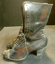 Antique Victorian Black Womens Lace Up Heeled Boots 24 Hole Marked 37 3414 Gd-Vg