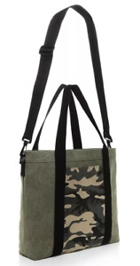 Bloomingdales Camo camouflage Canvas large Tote Shopping Bag purse olive green