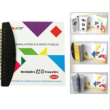 150 Puzzles Magnetic Tangram Kids Toys Challenge IQ Montessori Educational Book