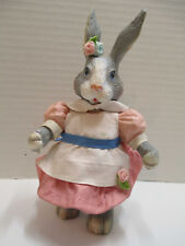 Vtg Lady Easter Bunny Rabbit Fabric Mache & Resin Midwest Importers Cannon Falls