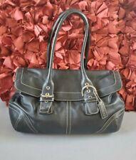 COACH Handbag Satchel HAMPTON SOHO Bag Purse Vintage 9636 Black Leather Flap